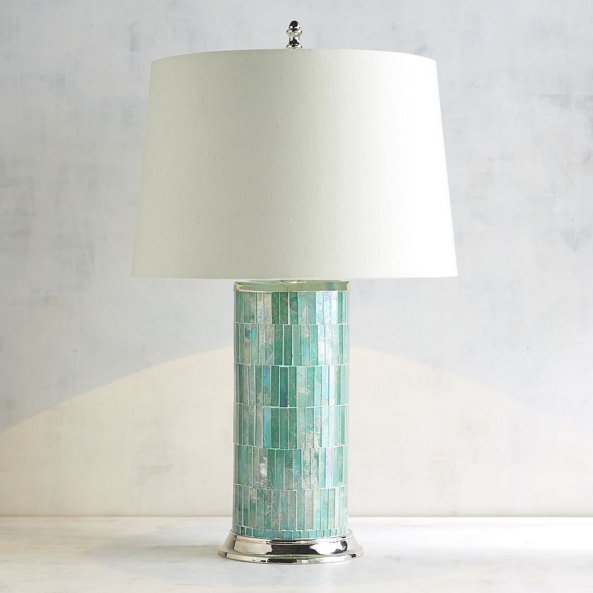Mosaic column aqua table lamp everything turquoise mosaic column aqua table lamp geotapseo Images
