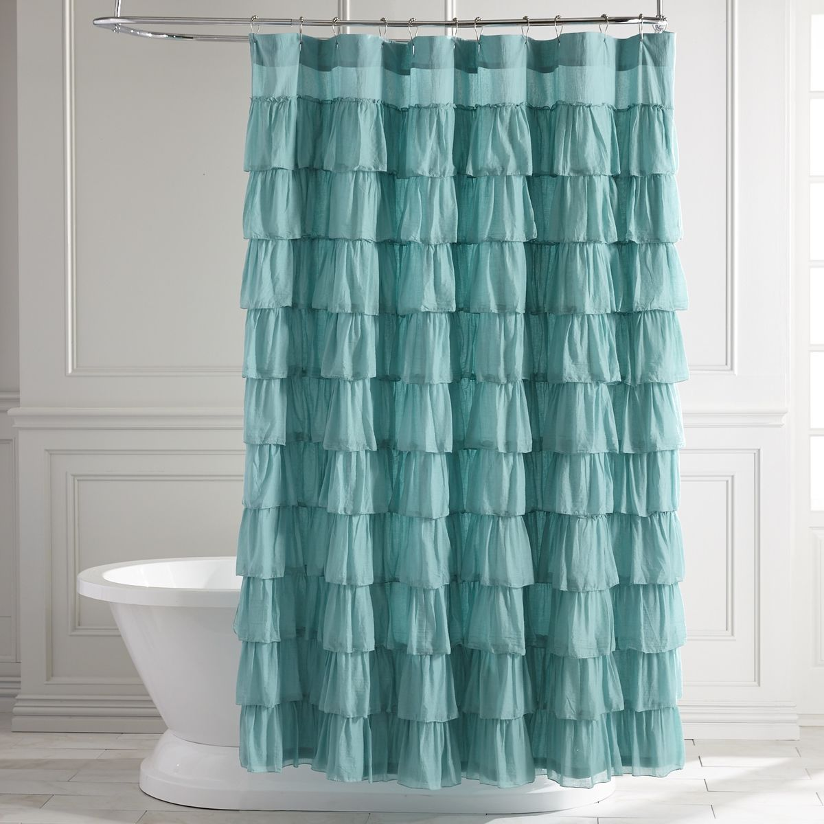 Solid teal shower curtain - Ruffled Turquoise Shower Curtain
