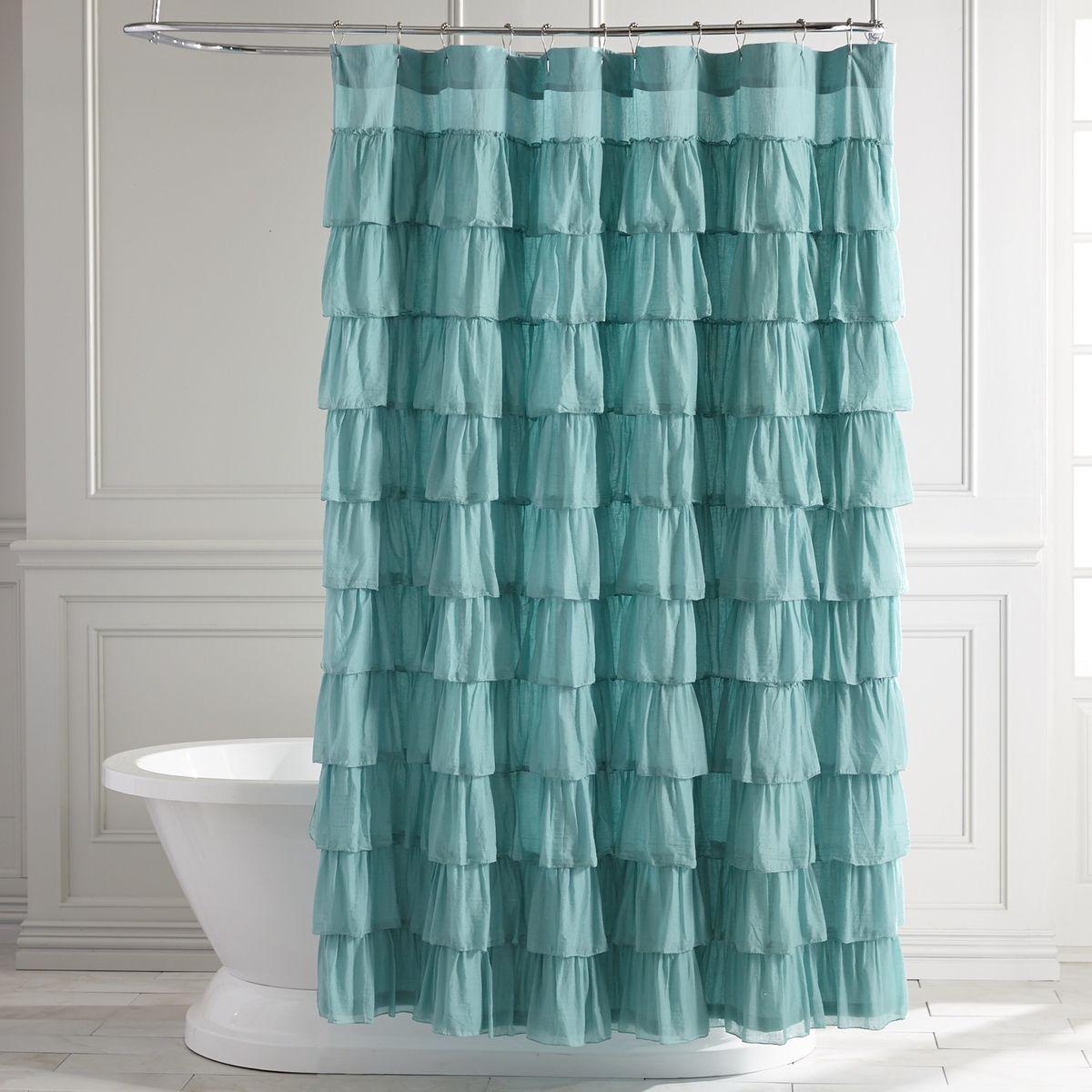 Ruffled Turquoise Shower Curtain