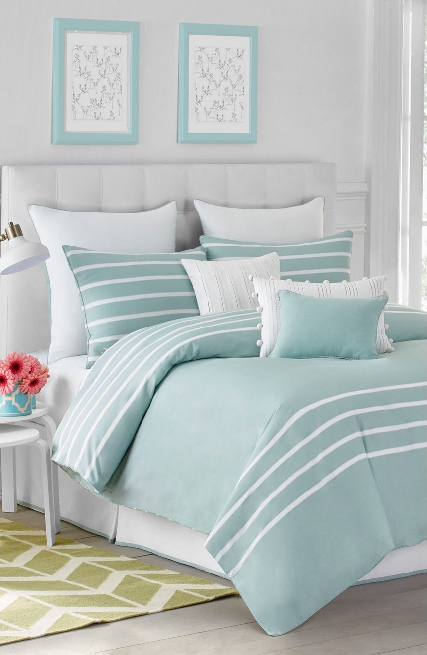 Blue bedspreads and comforters - Seaside Aqua Capri Stripe Bedding Collection