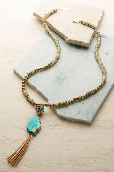 Tabitha Turquoise Tassel Necklace