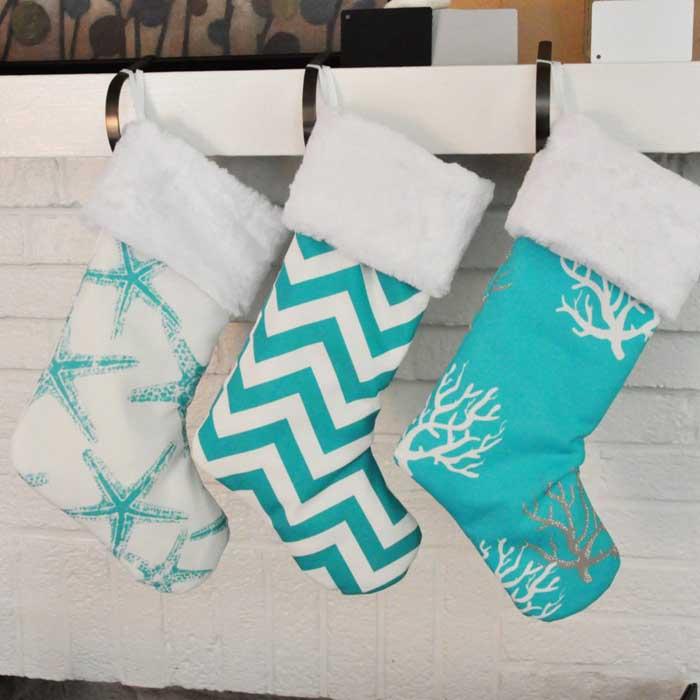 turquoise coastal christmas stockings - Coastal Christmas Stockings