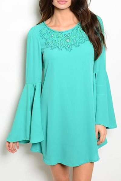 Turquoise Long Sleeve Dress