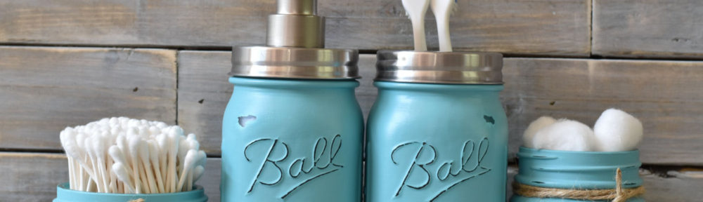 Turquoise Mason Jar Bathroom Set