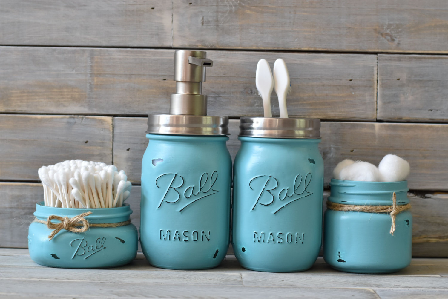 Simple Turquoise Mason Jar Bathroom Set