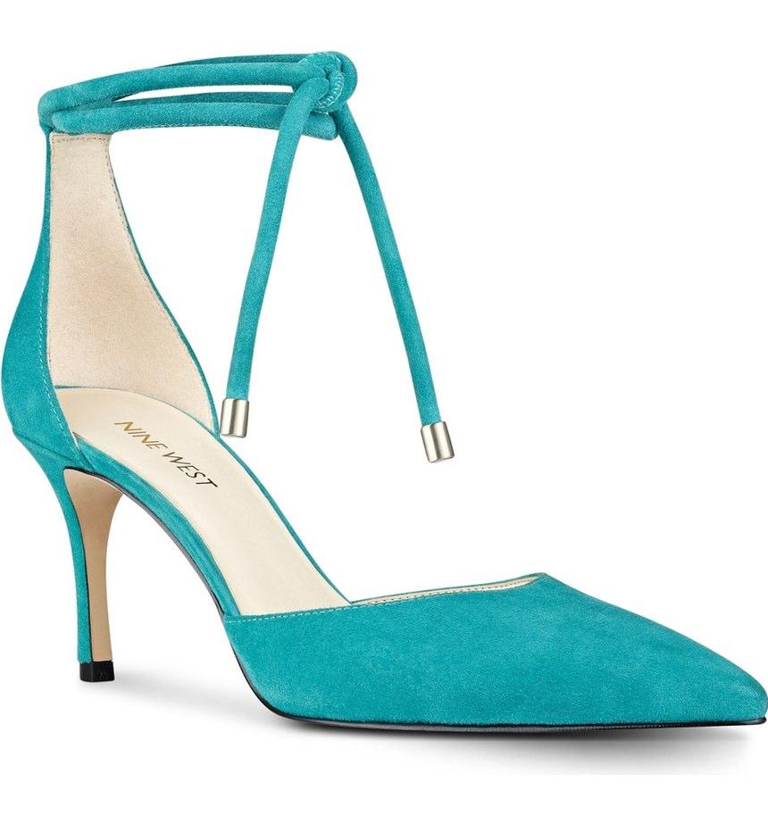 Turquoise Nine West Millenio Ankle Wrap Pump