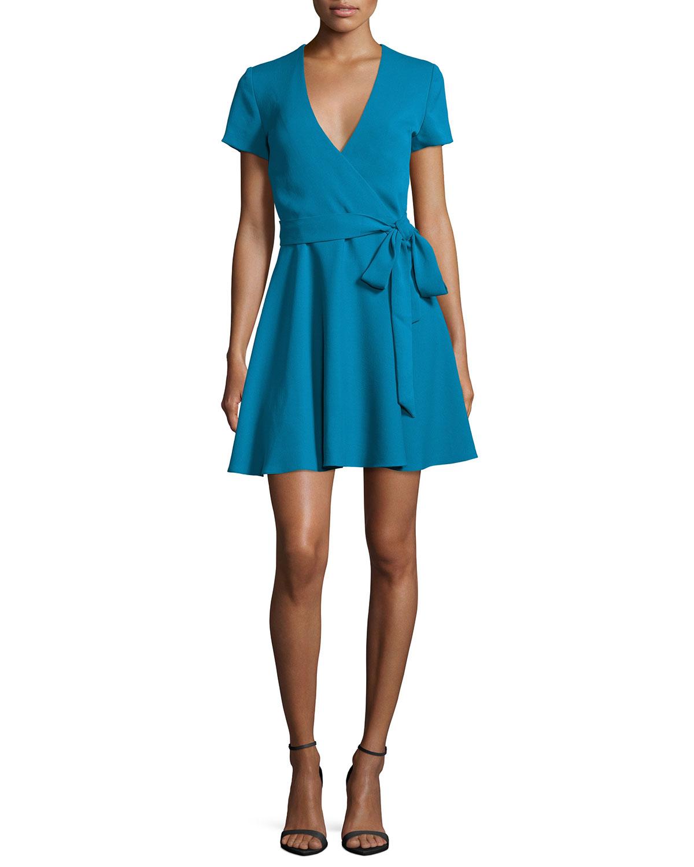 Alice + Olivia Adrianna Turquoise Mock-Wrap Dress
