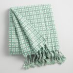 Aqua and White Woven Throw