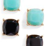 Black & Turquoise Square Stud Earrings (Set of 2)