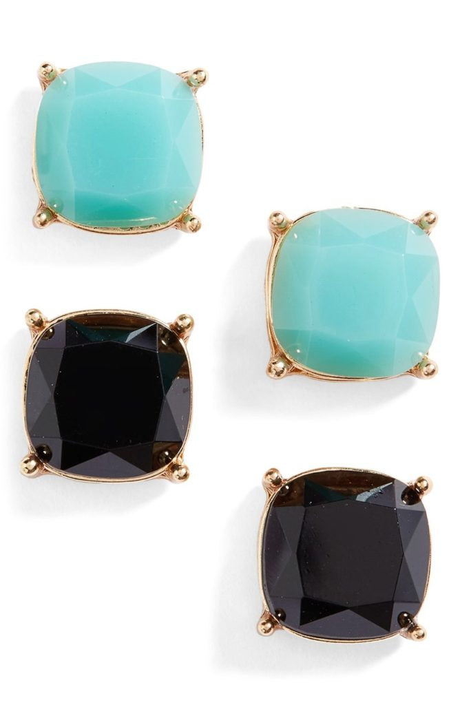 Black and Turquoise Square Stud Earrings