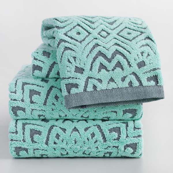 Indigo and Aqua Sunburst Sculpted Towel Collection