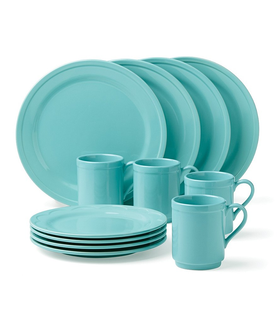 ... the All in Good Taste Turquoise Stoneware 12-Piece Dinnerware Set includes 4 dinner plates 4 salad plates and 4 mugs. Dishwasher and microwave safe.  sc 1 st  Everything Turquoise & Dinnerware | Everything Turquoise