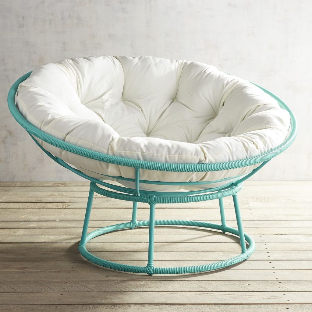 Outdoor Peacock Blue Papasan Chair Frame