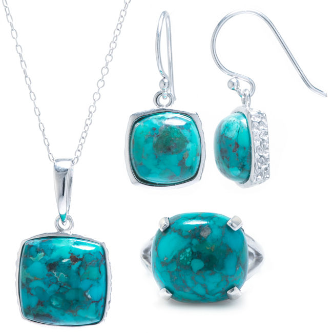Sterling Silver Enhanced Turquoise 3-pc. Jewelry Set