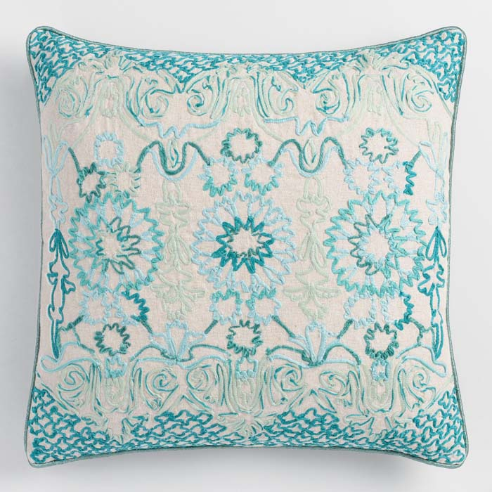 Teal Tile Embroidered Throw Pillow