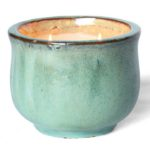 Turquoise Posh Pot French Linen Two-Wick Glazed Pottery Candle
