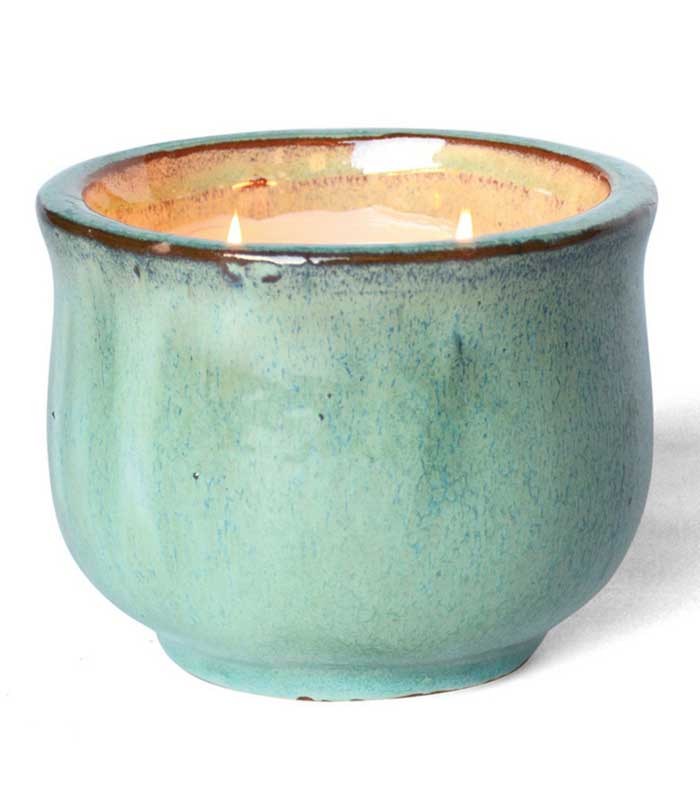Posh Pot French Linen Two-Wick Glazed Pottery Candle