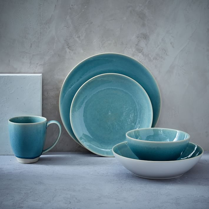 Alta Turquoise Crackle Glaze Dinnerware Set