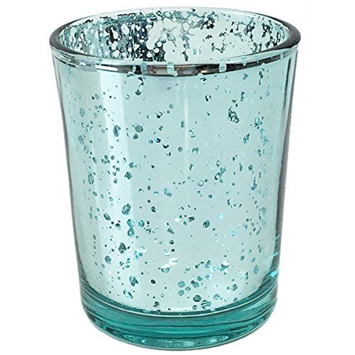 Aqua Mercury Glass Votive Candle Holders