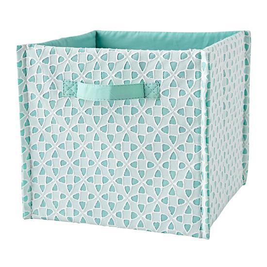 Aqua Patternly Cube Bin