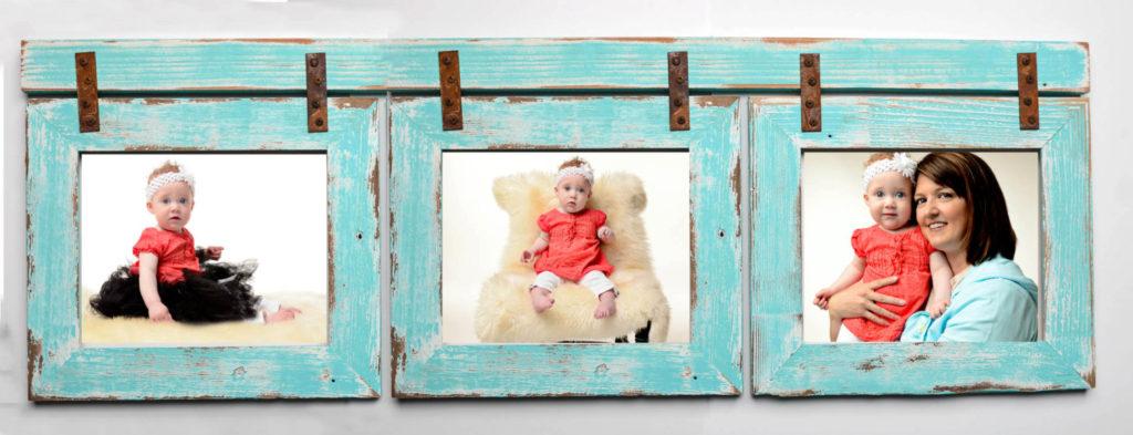 Barnwood Collage Turquoise Frame