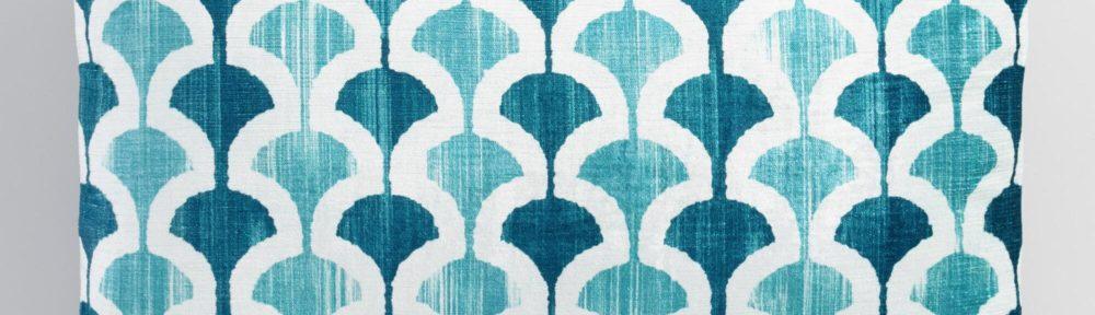 Blue Ginko Velvet Lumbar Pillow