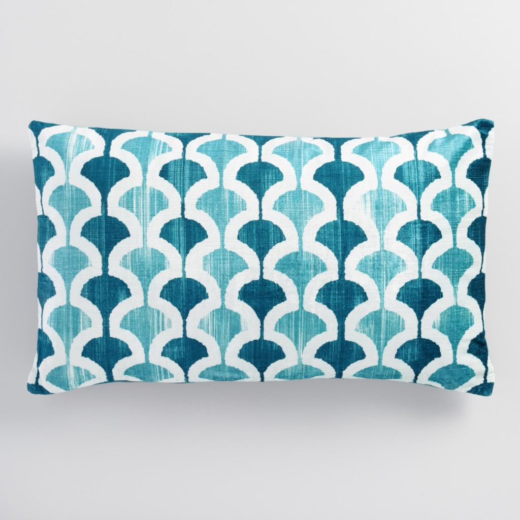 Blue Ginko Velvet Lumbar Pillow