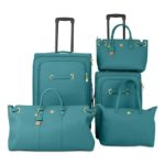 Joy Mangano Christie Teal  Leather Luggage