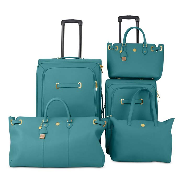 8fa78c97c Joy Mangano Christie Teal Leather Luggage