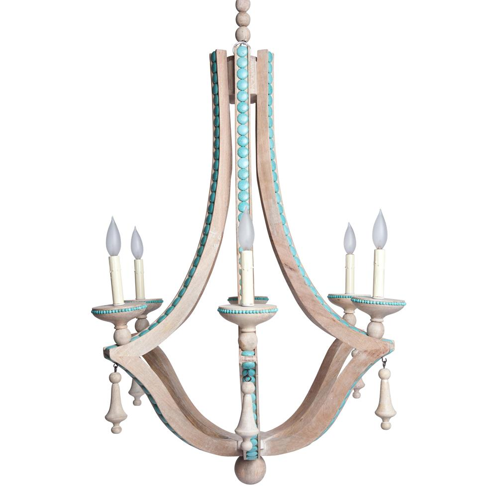 Limed Wood Coastal Beach Turquoise Inlay 6 Bulb Chandelier