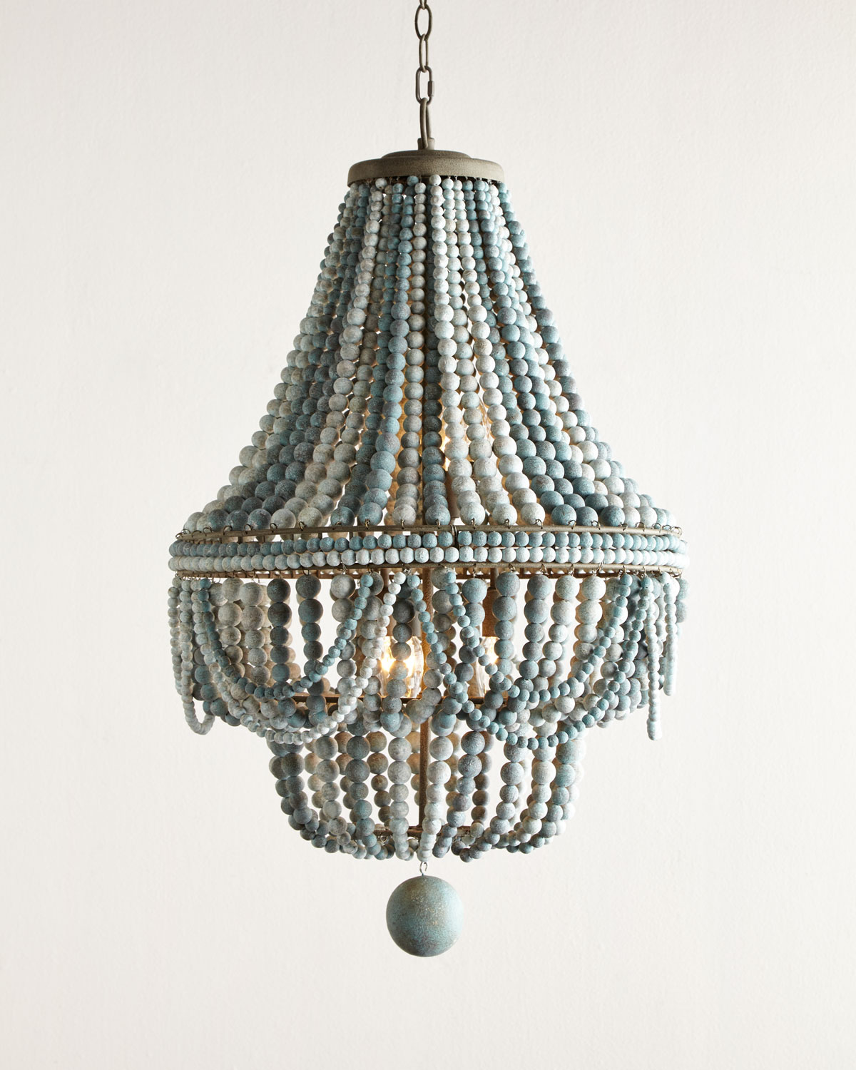 Welcoming White Kitchen Is Illuminated By Regina Andrew: Malibu Beaded 6-Light Chandelier