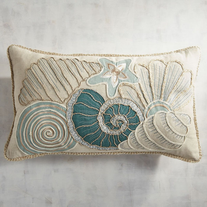 Seashore Seashells Lumbar Pillow