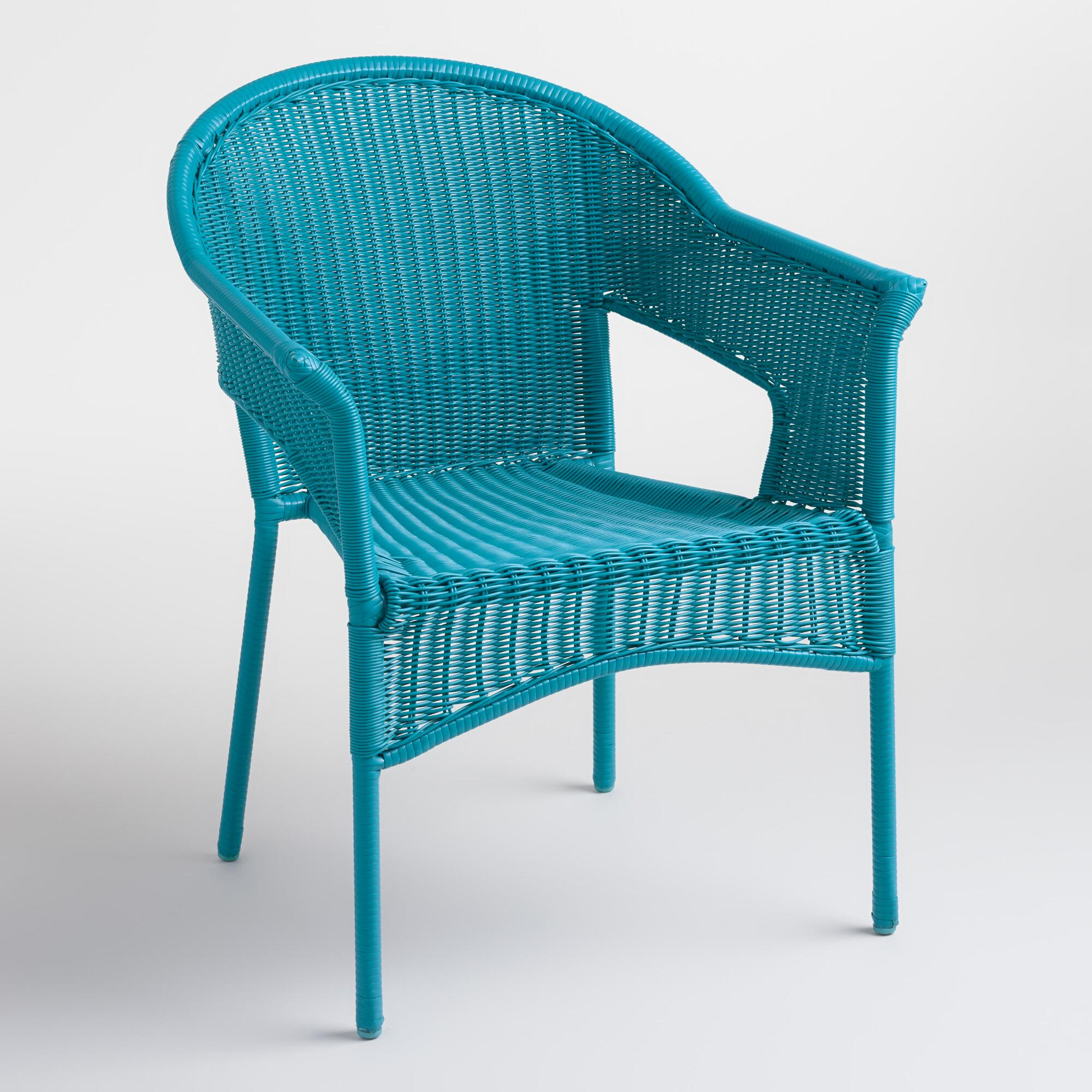 Surf Blue All Weather Wicker Stacking Tub Chairs