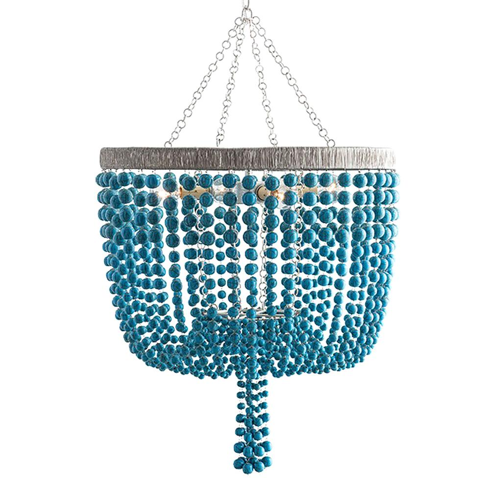 Terio Coastal Beach Turquoise Bead Chandelier