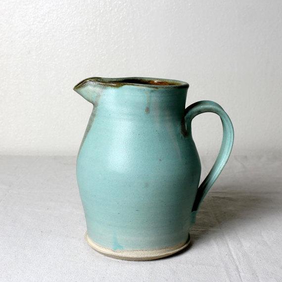 Turquoise Stoneware Pitcher