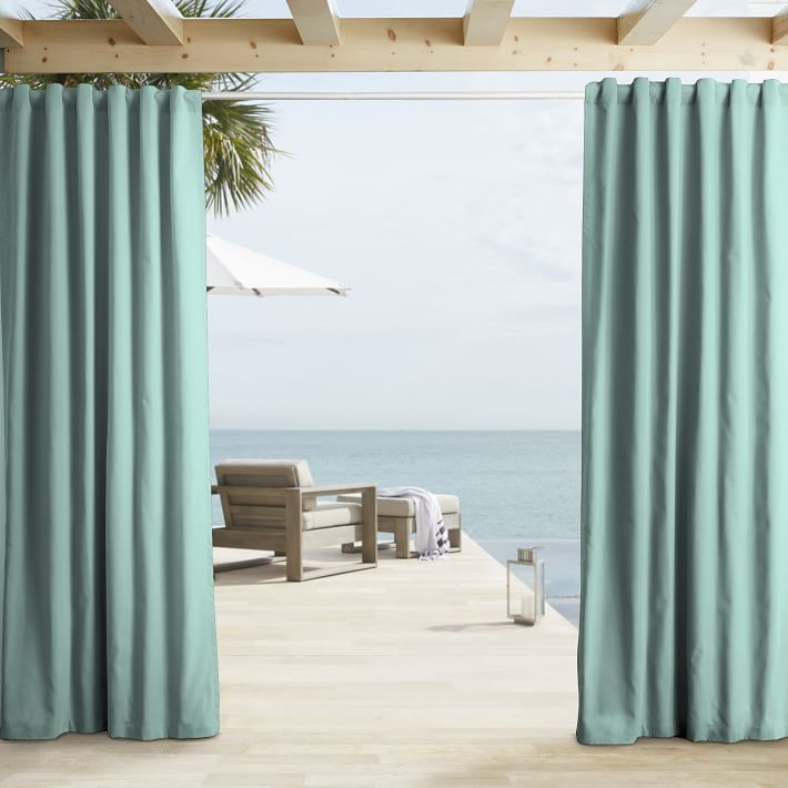 Aqua Outdoor Solid Curtain