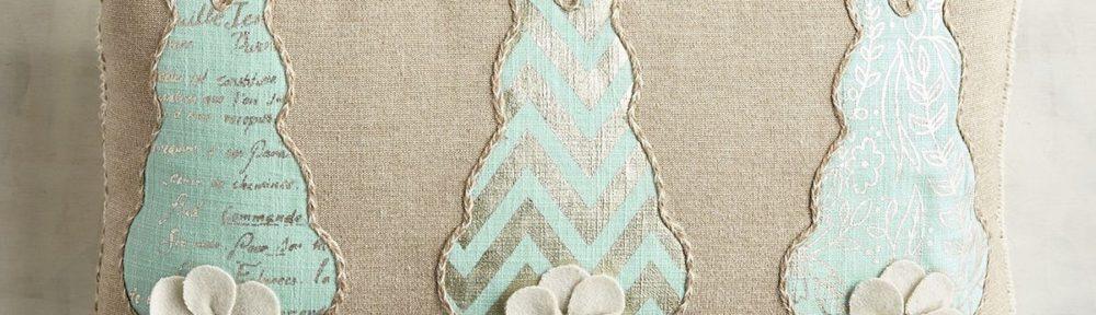Blue Bunny Tails Lumbar Pillow