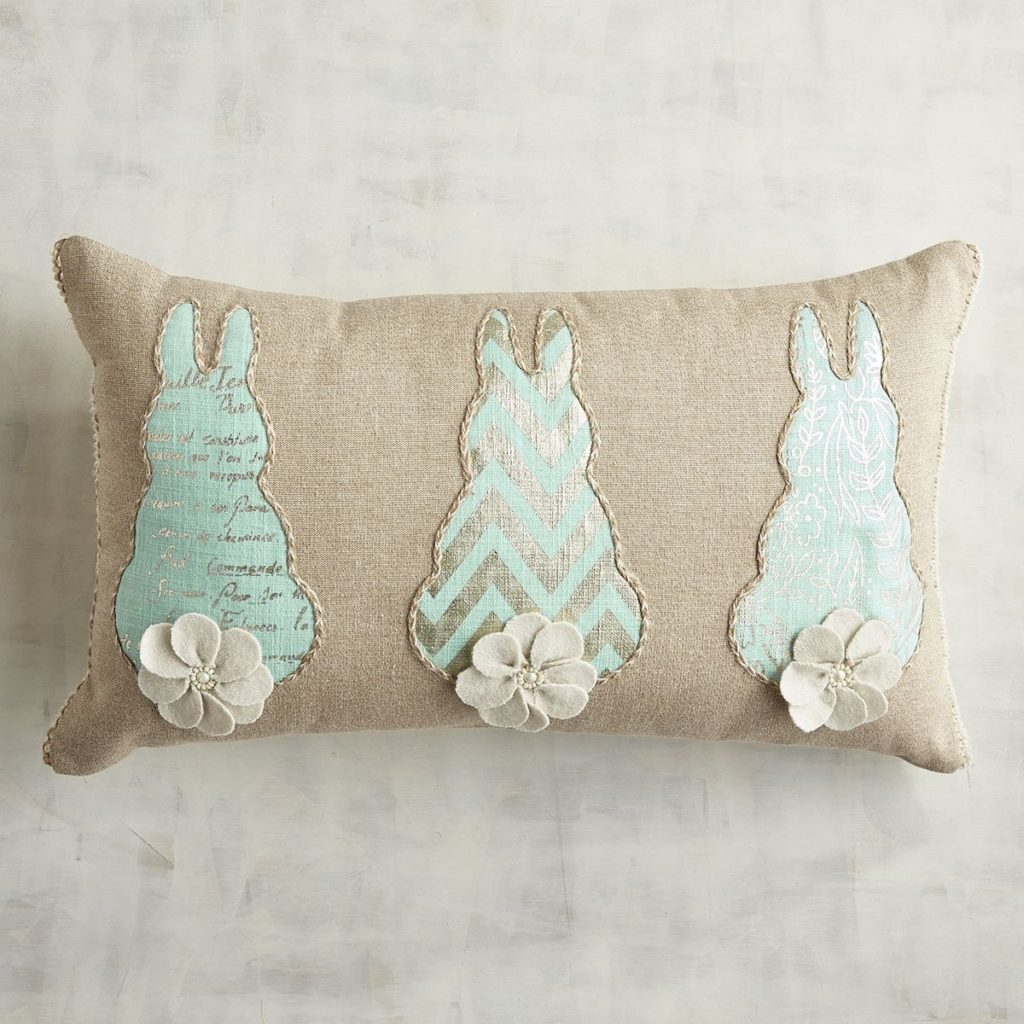Blue Bunny Tails Lumbar Pillow