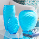 Bright Blue Etched Glass Vase