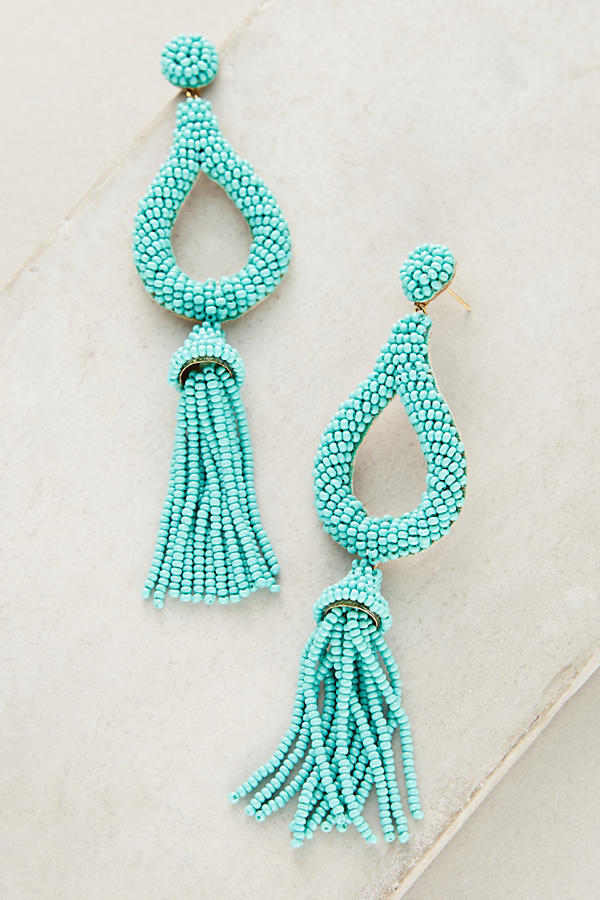 Jasmine Turquoise Tassel Drop Earrings