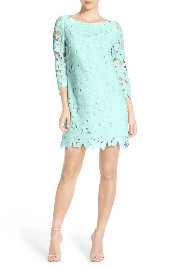 Light Turquoise Floral Lace Shift Dress