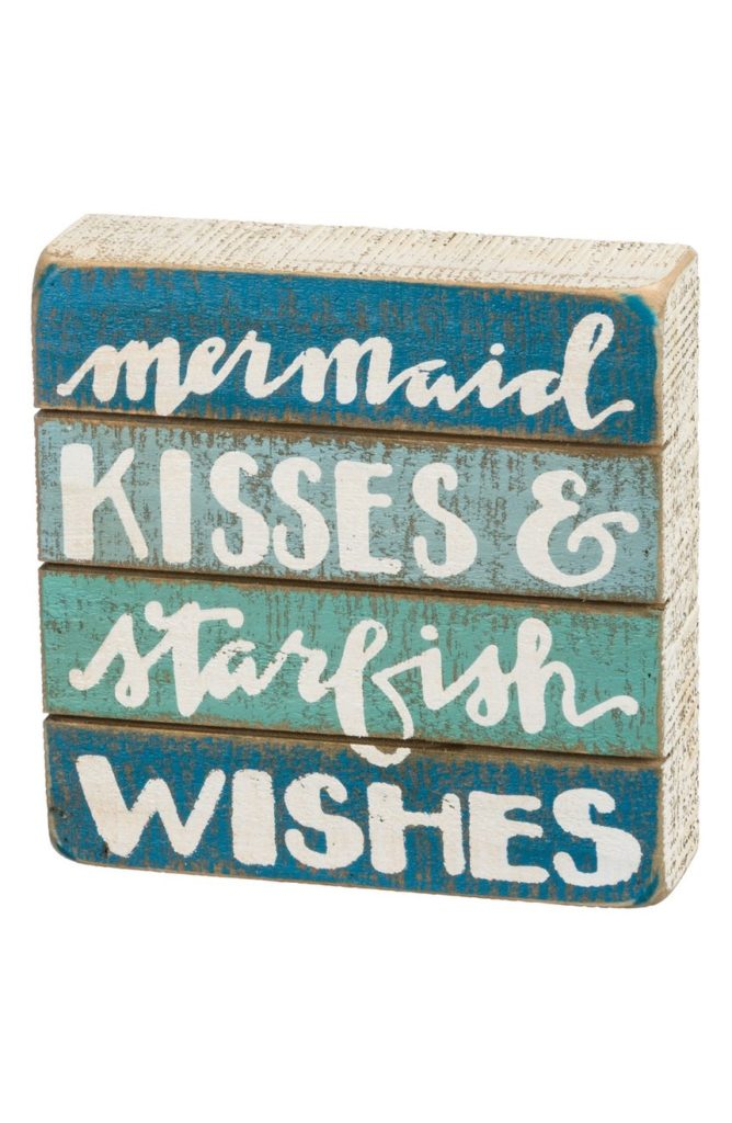 Mermaid Kisses & Starfish Wishes Wood Box Sign