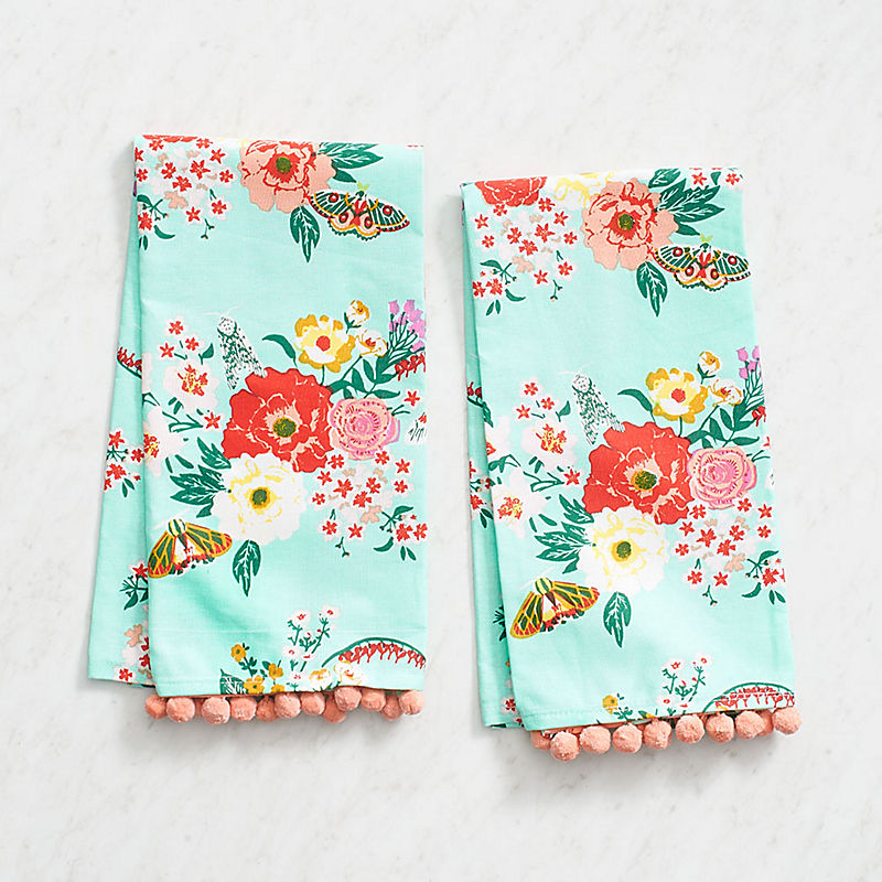 Mint Fl Tea Towels Everything Turquoise