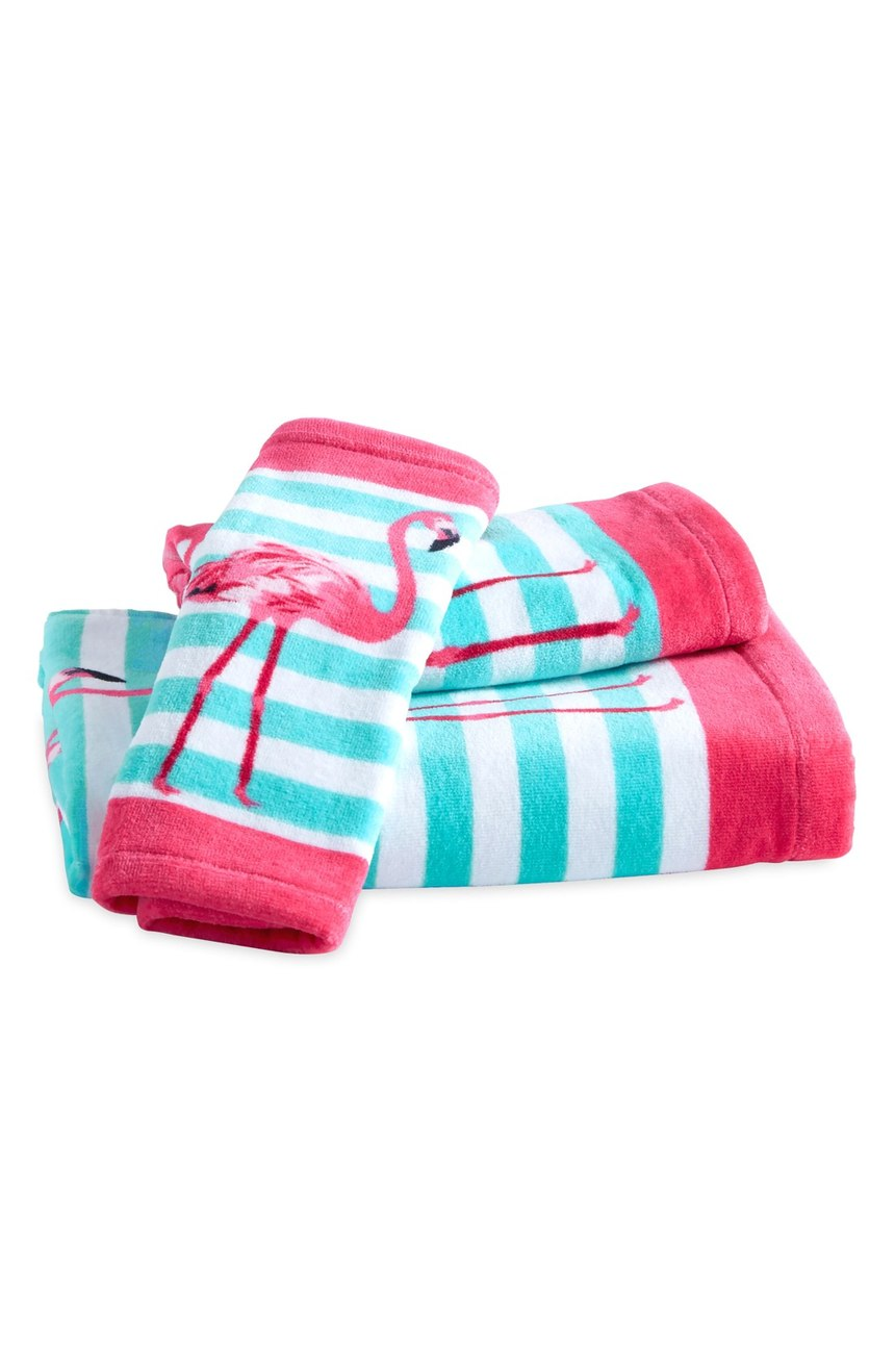 Pink Flamingo Towel Set Everything Turquoise