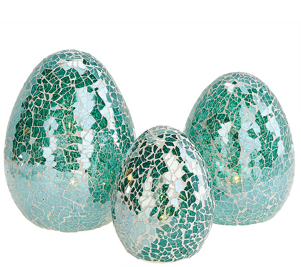 Set of 3 Glass Mosaic Egg Luminaries