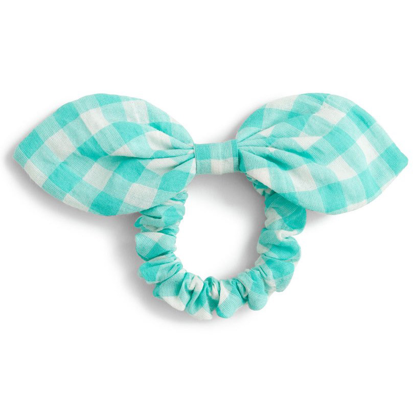 Turquoise Gingham Bow Ponytail Holder