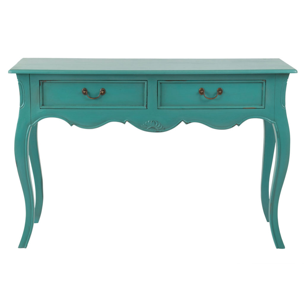 Turquoise Mahogany Rectangle Console Table