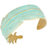 Patina Feather Open Cuff Turquoise Bracelet