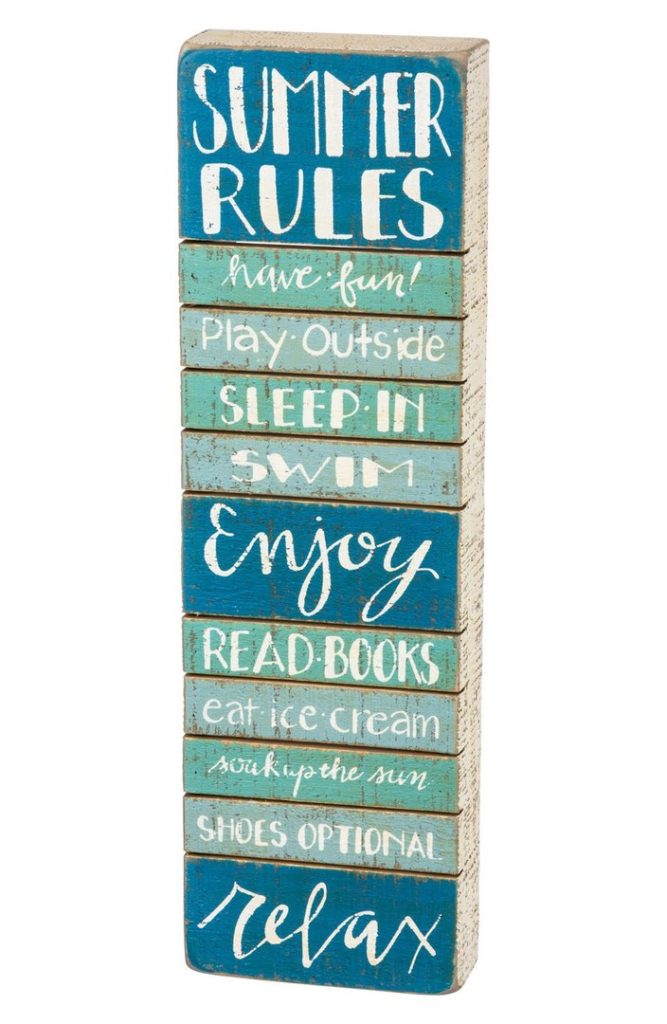 Summer Rules Wood Box Sign