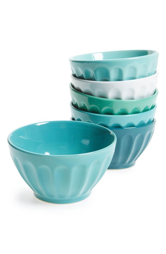Teal Set of 6 Latte Bowls